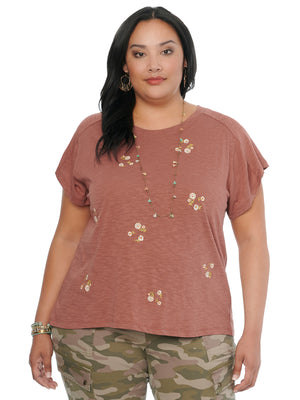 Womens Plus Size Fashion Short Sleeve Boyfriend Tee Shirt Embroidered Floral Sedona Clay Knit Top