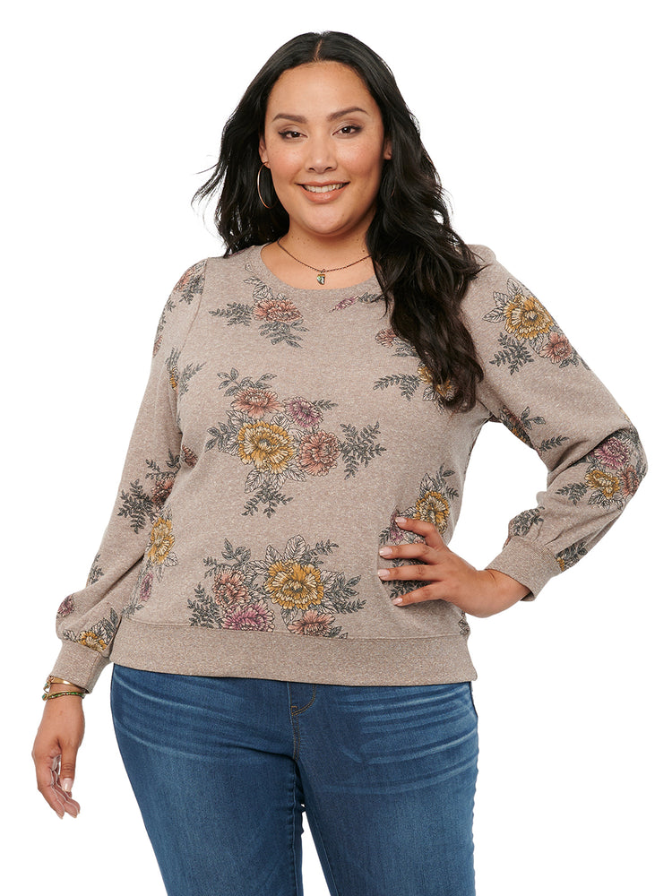 Load image into Gallery viewer, Blouson Long Sleeve Floral Plus Size Long Pullover Sweatshirt