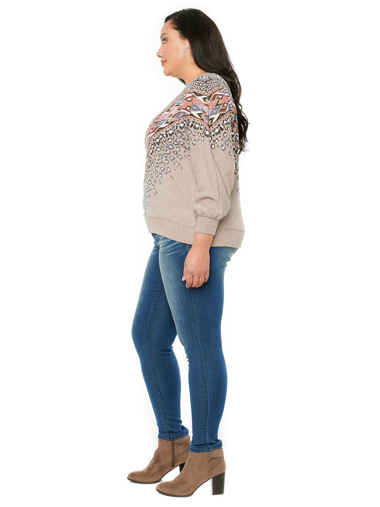 Blouson Long Sleeve Placement Print Plus Sweatshirt