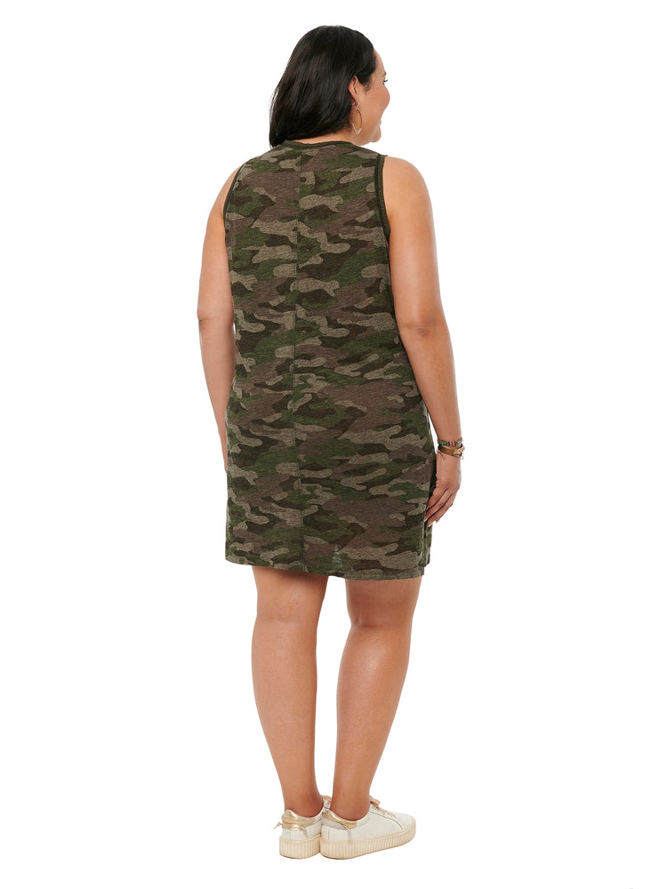Scoop Neck Printed Knit Camo Plus Dress
