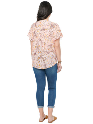 Fluttery Short Sleeve Soft Pink Animal Print Plus Woven Top
