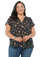 Ruffle Cascade Short Sleeve Ditzy Floral Plus Woven Top