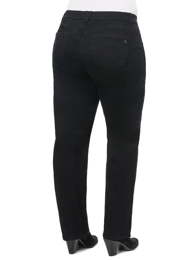 "Load image into Gallery viewer, Black Denim ""Ab""solution® Straight Leg Plus Jeans"
