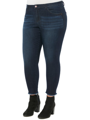 absolution plus size luxe touch denim high waisted seamless ankle skimmer frayed hem dark indigo denim jeans