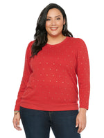 Long Sleeve Scoop Neck Rhinestone Red Plus Sweatshirt
