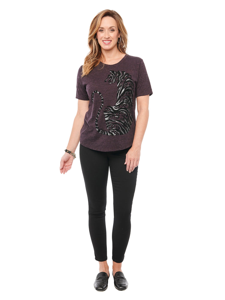 Short Sleeve Scoop Neck Animal Plus Tee