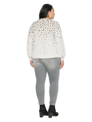 Blouson Long Sleeve Animal Printed Plus Knit Top