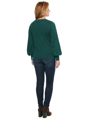 Load image into Gallery viewer, Blouson Long Sleeve Scoop Neck Metallic Knit Plus Top