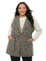 Fringe Collar Belted Plaid Plus Vest