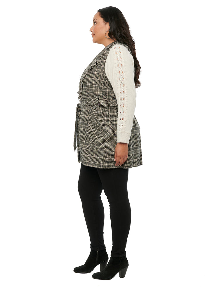 Load image into Gallery viewer, Fringe Collar Belted Plaid Plus Vest