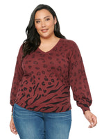 Long Sleeve Ombre Animal Printed Plus Sweater