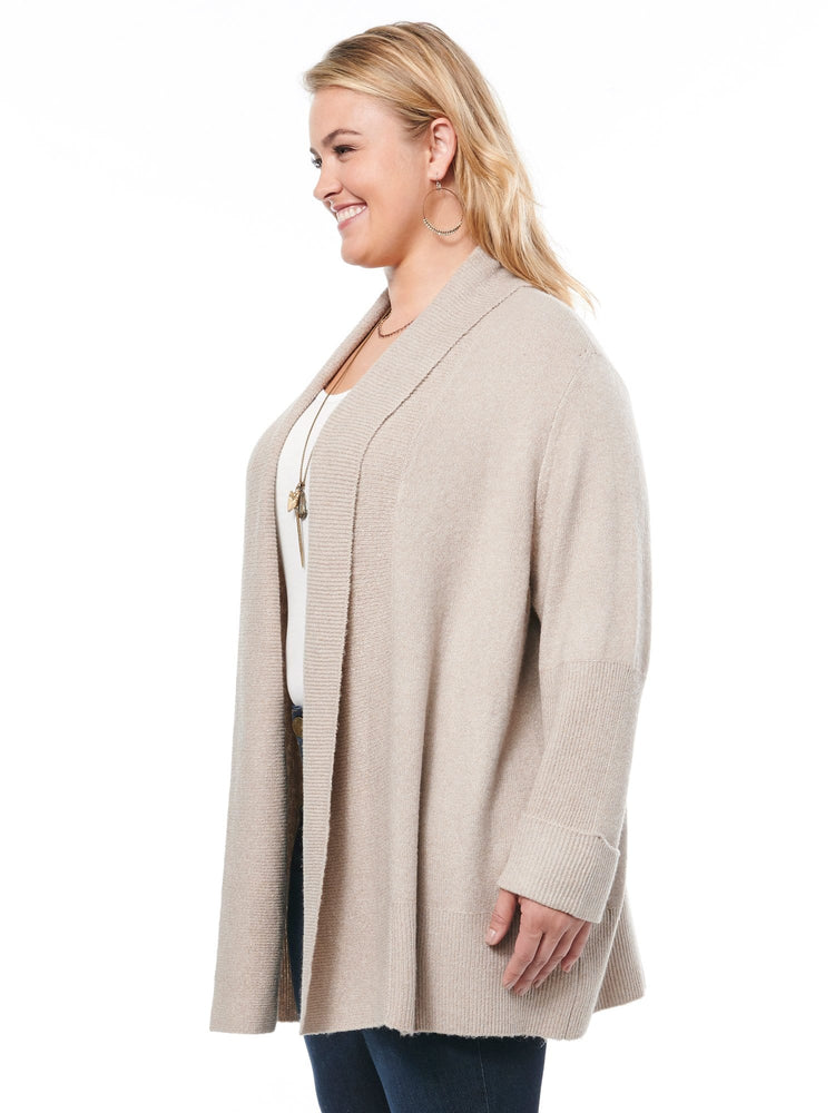 Long Sleeve Roll Cuff Open Cardigan Layering Plus Sweater