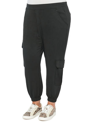 Women's High Rise Patch Pocket Black Plus Size Stretch Joggers