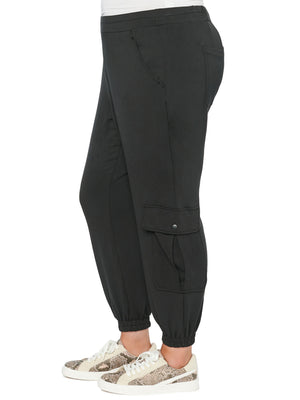 Load image into Gallery viewer, High Rise Patch Pocket Black Plus Jogger