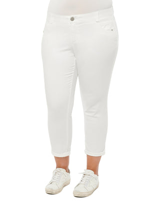 "Load image into Gallery viewer, ""Ab""solution Optic Stretch Denim White Plus Ankle Skimmer Jegging"
