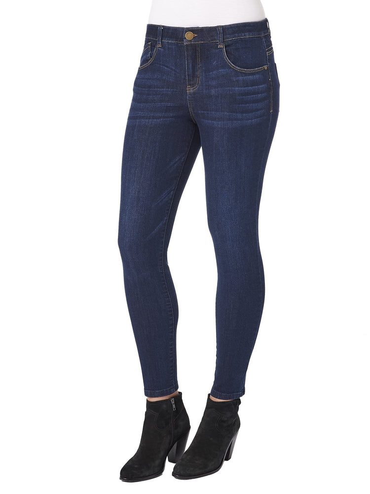 "Luxe Touch Premium Stretch Dark Indigo Denim High Rise ""Ab""solution Ankle Length Jeggings Skinny Jeans"