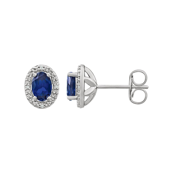 Sterling Silver Created Blue Sapphire & .025 CTW Diamond Earrings