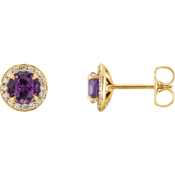 14K Yellow Gold 5 mm Round Chatham® Created Alexandrite & 1/6 CTW Diamond Earrings