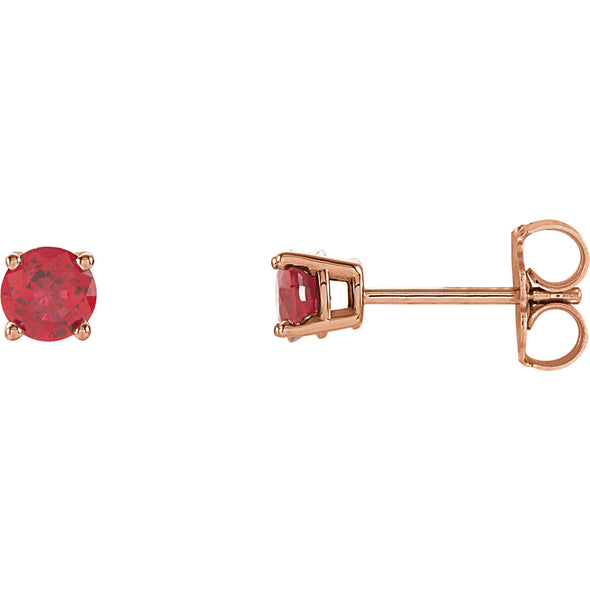 14K Rose Gold 4 mm Round Chatham® Created Ruby Earrings