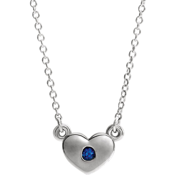 "14K White Gold Chatham® Created Blue Sapphire Heart 16"" Necklace"