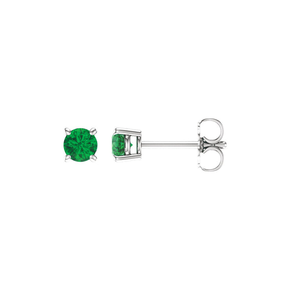14K White Gold 4 mm Round Chatham® Created Emerald Earrings