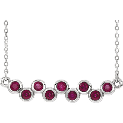 "Sterling Silver Ruby Bezel-Set Bar 16-18"" Necklace"