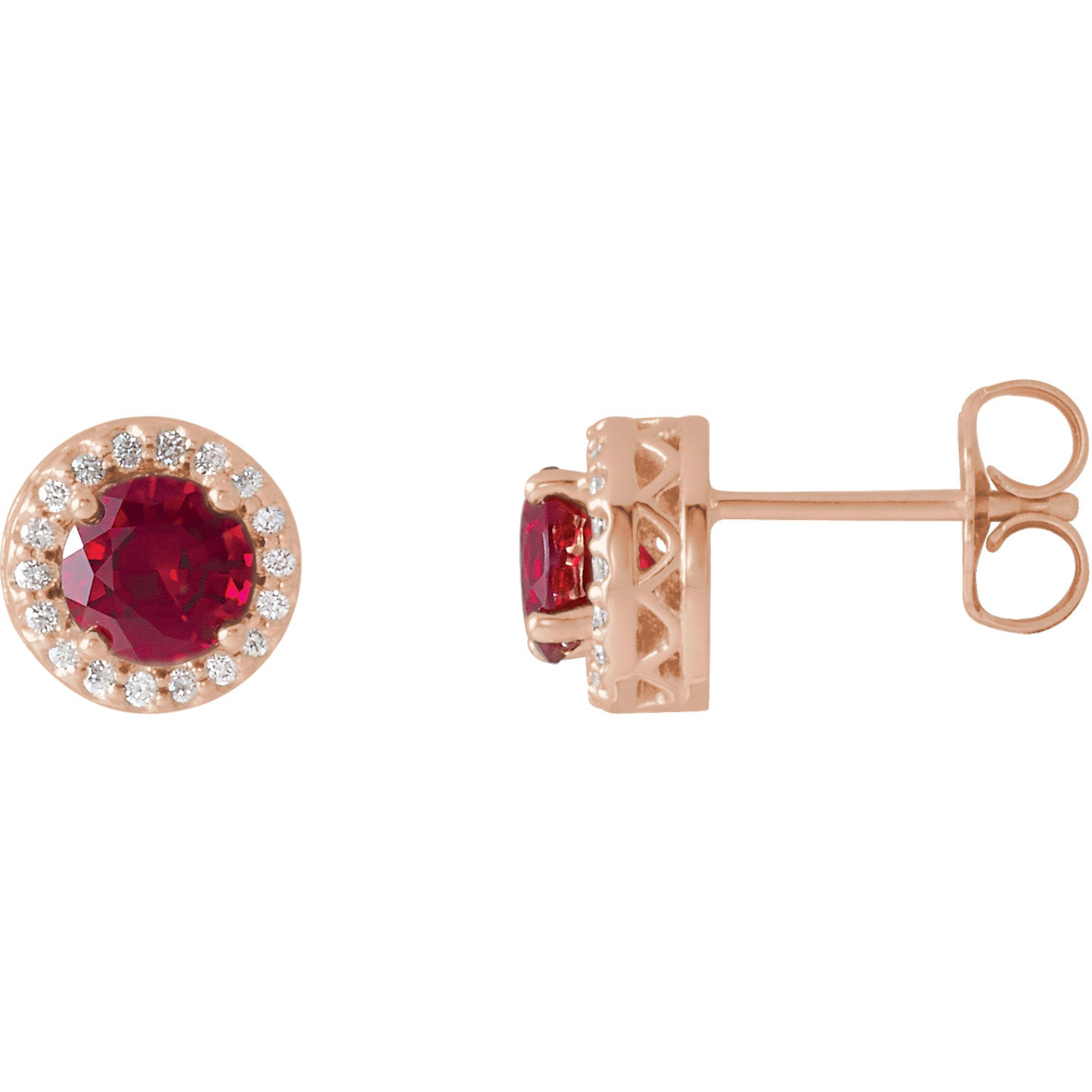 14K Rose Gold Chatham® Created Ruby & 1/10 CTW Diamond Earrings