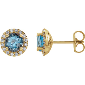 14K Yellow Gold Aquamarine & 1/6 CTW Diamond Earrings - r-l-jewelry - Earrings