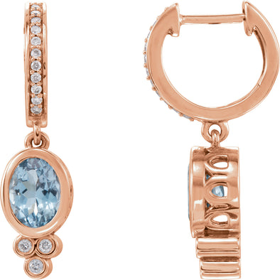 14K Rose Gold Aquamarine & 1/6 CTW Diamond Hoop Earrings