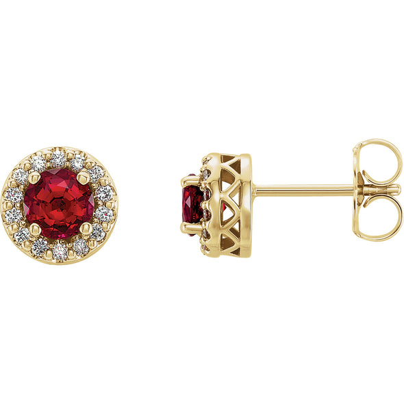 14K Yellow Gold Chatham® Created Ruby & .08 CTW Diamond Earrings