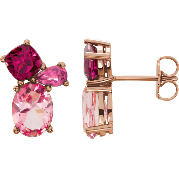 14K Rose Gold Baby Pink Topaz, Rhodolite Garnet & Pink Tourmaline Earrings