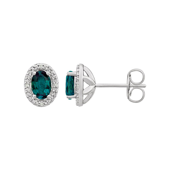 Sterling Silver Created Alexandrite & .025 CTW Diamond Earrings
