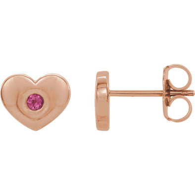 14K Rose Gold Pink Tourmaline Heart Earrings