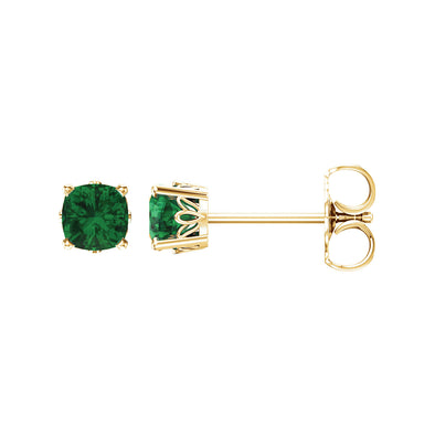 14K Yellow Gold Chatham® Created Emerald Earrings