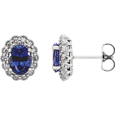 Platinum Chatham® Created Blue Sapphire & 3/8 CTW Diamond Earrings