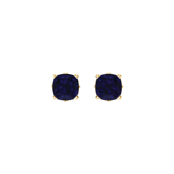 14K Yellow Gold Chatham® Created Blue Sapphire Earrings