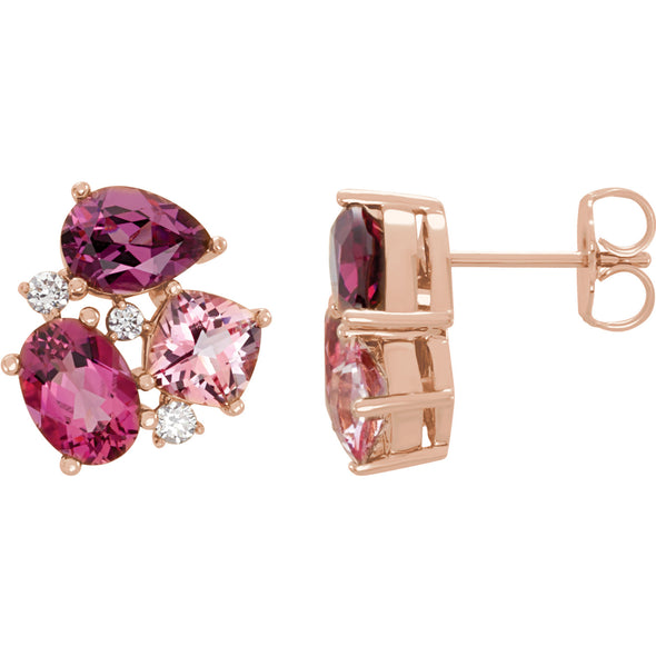 14K Rose Gold Multi-Gemstone & 1/6 CTW Diamond Earrings