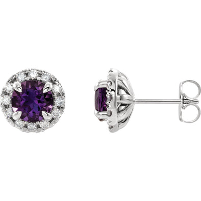 Platinum Blue Sapphire & 1/3 CTW Diamond Earrings