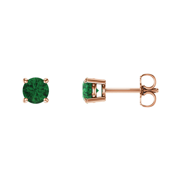 14K Rose Gold 5 mm Round Chatham® Created Emerald Earrings