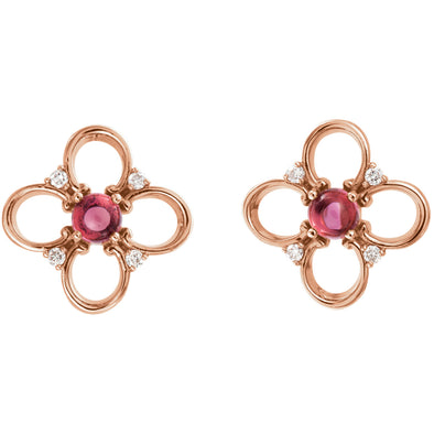 14K Rose Gold Pink Tourmaline & .04 CTW Diamond Earrings