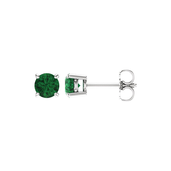 14K White Gold 5 mm Round Chatham® Created Emerald Earrings