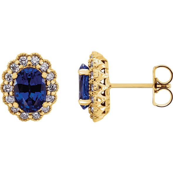 14K Yellow Gold Chatham® Created Blue Sapphire & 3/8 CTW Diamond Earrings