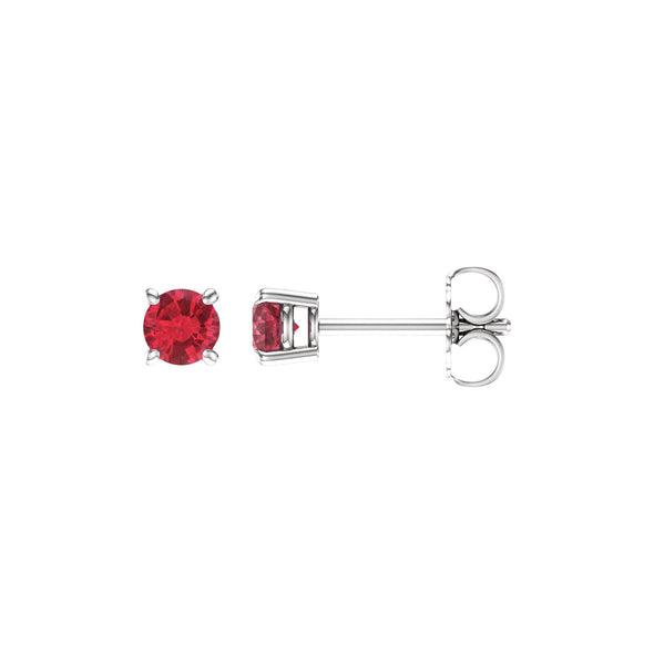 14K White Gold 4 mm Round Chatham® Created Ruby Earrings