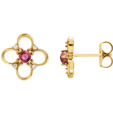 14K Yellow Gold Pink Tourmaline & .04 CTW Diamond Earrings