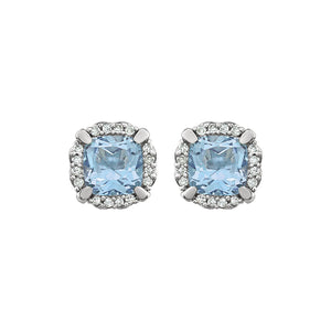 14K White Gold Sky Blue Topaz & 1/10 CTW Diamond Earrings - r-l-jewelry - Earrings