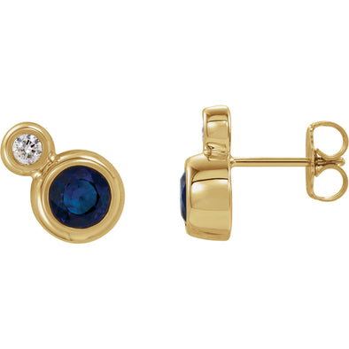 14K Yellow Gold Blue Sapphire & 1/8 CTW Diamond Earrings