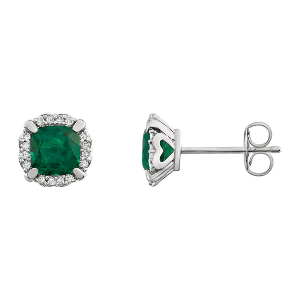14K White Gold Created Emerald & 1/10 CTW Diamond Earrings