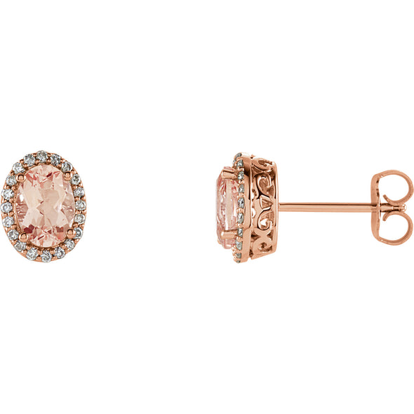 14K Rose Gold Morganite & 1/5 CTW Diamond Earrings