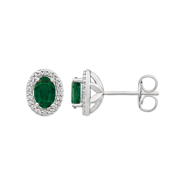 Sterling Silver Created Emerald & .025 CTW Diamond Earrings