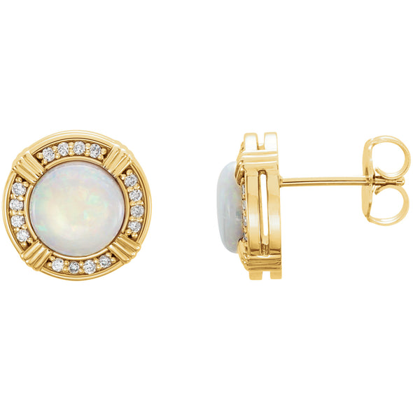 14K Yellow Gold Opal & 1/6 CTW Diamond Earrings